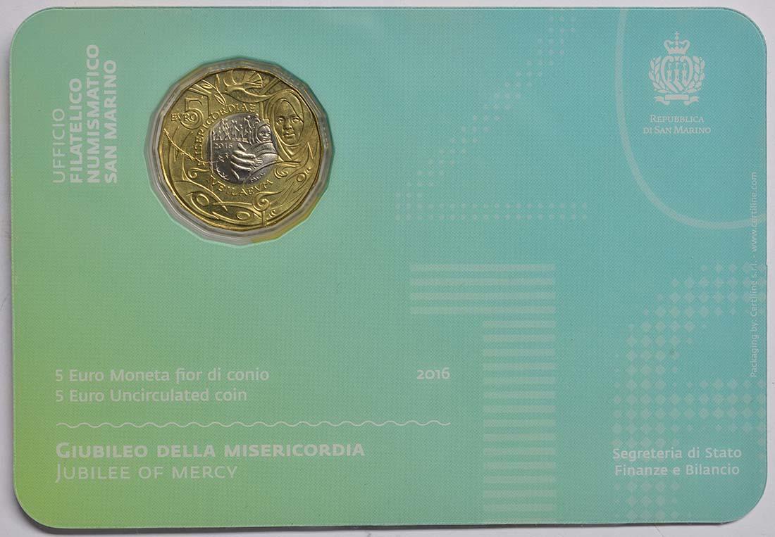 Rückseite:San Marino : 5 Euro Jubiläum der Barmherzigkeit  2016 bfr
