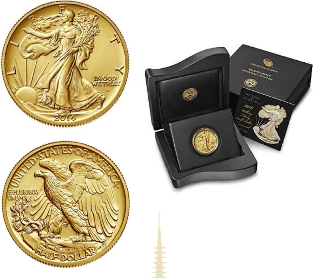 Lieferumfang:USA : 50 Cent Walking Liberty  2016 Stgl.