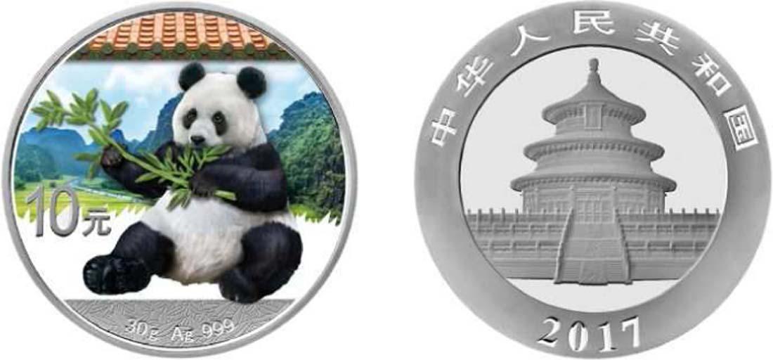 Lieferumfang:China : 10 Yuan Silberpanda farbig - Variante 1 - rotes Dach  2017 Stgl.