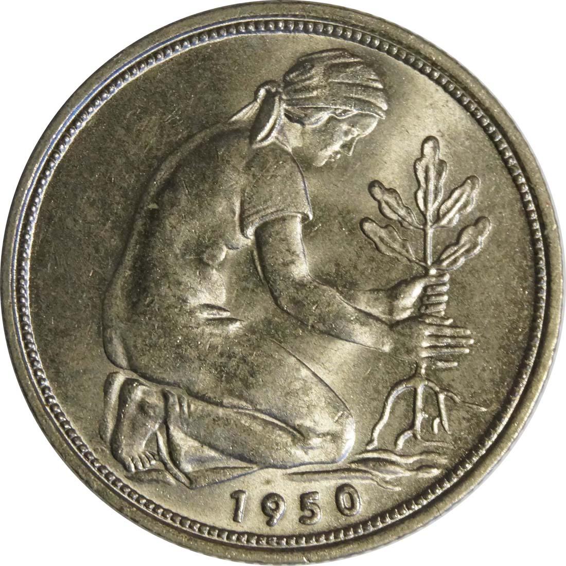 Rückseite:Deutschland : 50 Pfennig Kursmünze -fein- 1950 Stgl.