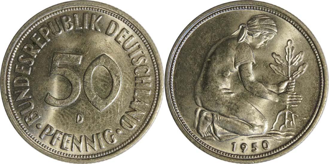 Übersicht:Deutschland : 50 Pfennig Kursmünze -fein- 1950 Stgl.