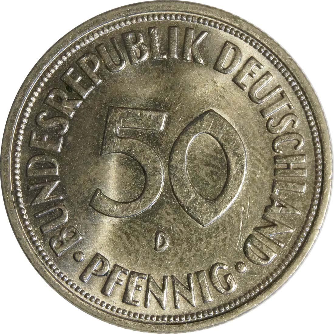 Vorderseite :Deutschland : 50 Pfennig Kursmünze -fein- 1950 Stgl.