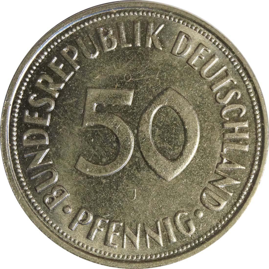 Vorderseite:Deutschland : 50 Pfennig Kursmünze  1950 bfr