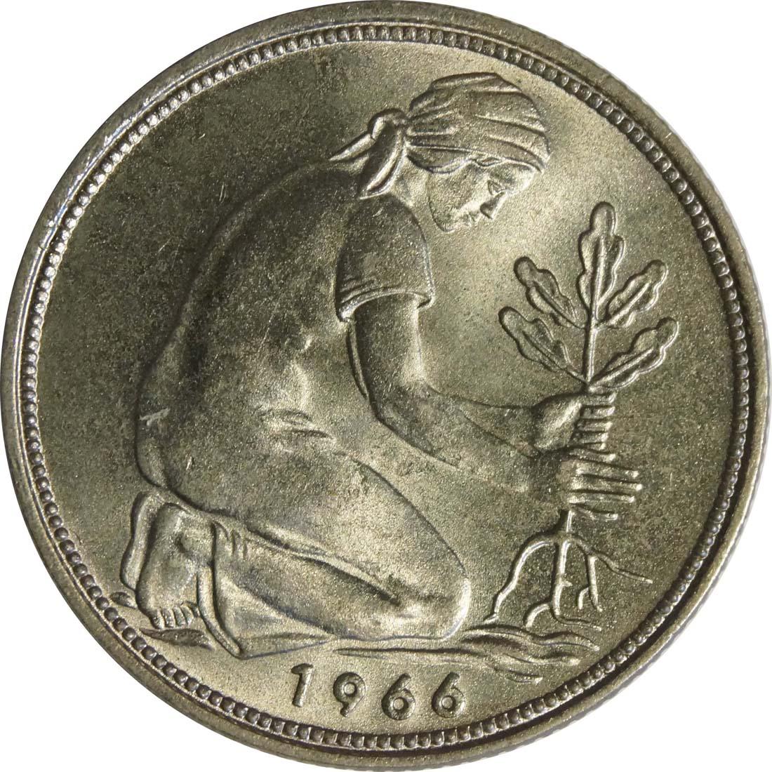 Rückseite:Deutschland : 50 Pfennig Kursmünze  1966 Stgl.