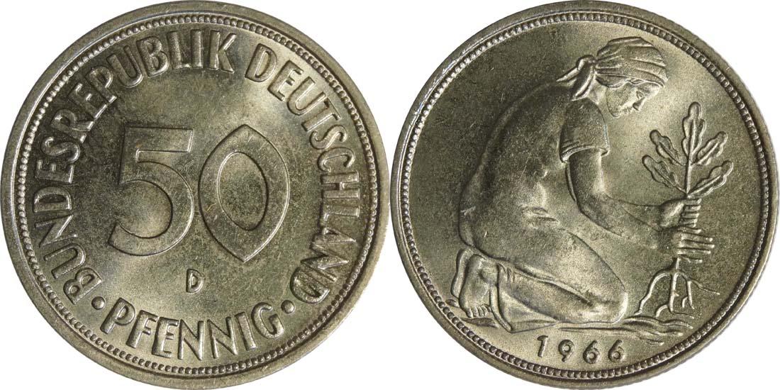 Deutschland : 50 Pfennig Kursmünze  1966 Stgl.