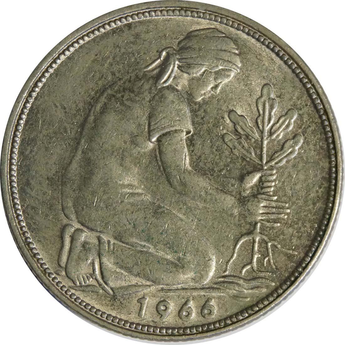 Rückseite :Deutschland : 50 Pfennig Kursmünze  1966 vz/Stgl.