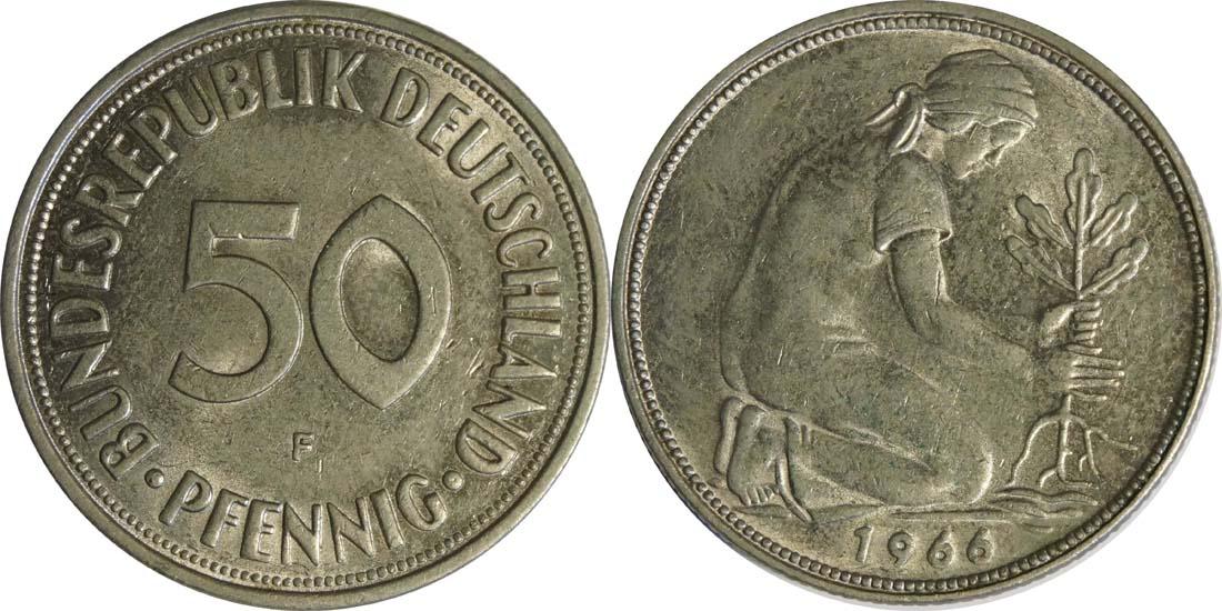 Deutschland : 50 Pfennig Kursmünze  1966 vz/Stgl.