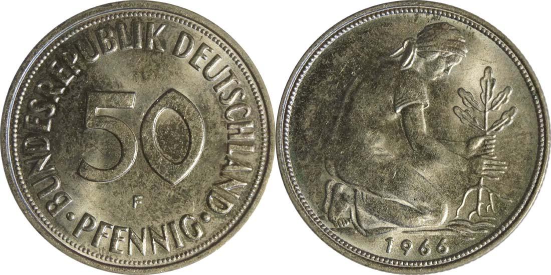 Deutschland : 50 Pfennig Kursmünze -fein- 1966 Stgl.