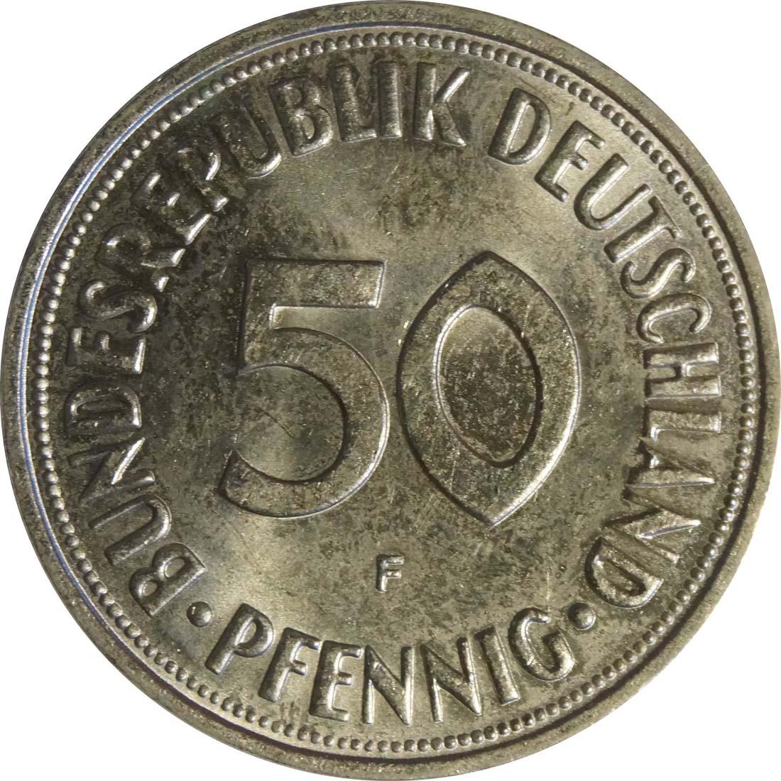 Vorderseite :Deutschland : 50 Pfennig Kursmünze -fein- 1966 Stgl.