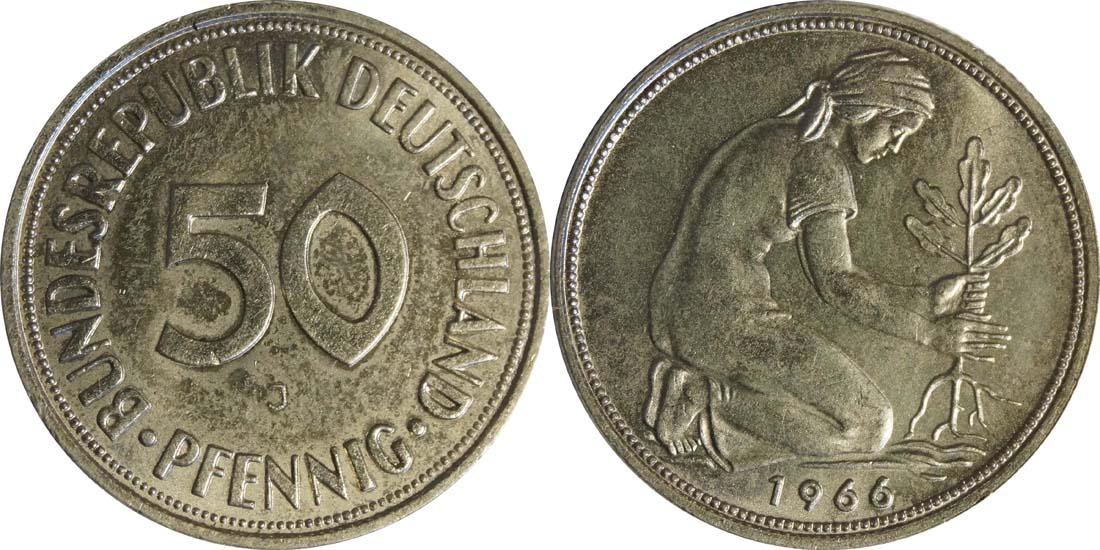 Übersicht:Deutschland : 50 Pfennig Kursmünze  1966 Stgl.