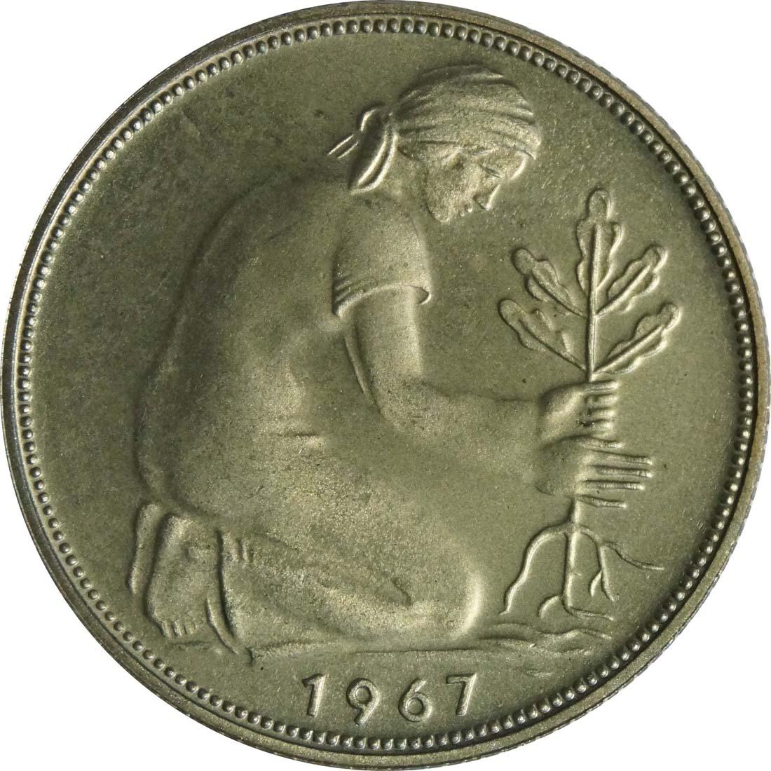 Rückseite:Deutschland : 50 Pfennig Kursmünze  1967 PP