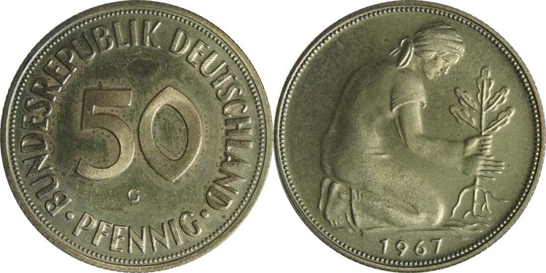 Übersicht:Deutschland : 50 Pfennig Kursmünze  1967 PP
