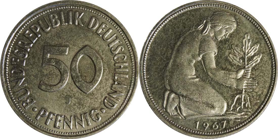 Lieferumfang:Deutschland : 50 Pfennig Kursmünze  1967 Stgl.