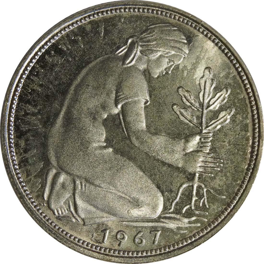 Rückseite :Deutschland : 50 Pfennig Kursmünze  1967 Stgl.