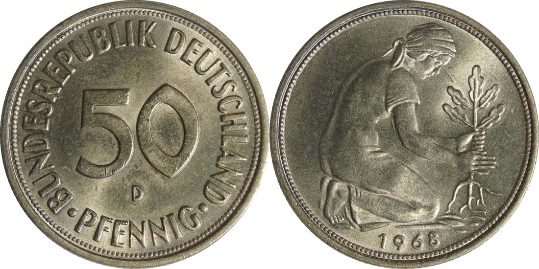 Übersicht:Deutschland : 50 Pfennig Kursmünze  1968 Stgl.
