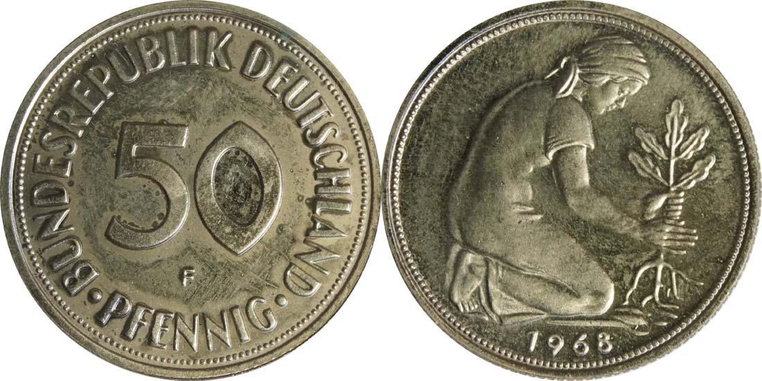 Lieferumfang:Deutschland : 50 Pfennig Kursmünze  1968 PP