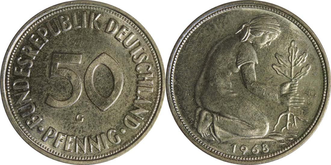 Deutschland : 50 Pfennig Kursmünze  1968 Stgl.