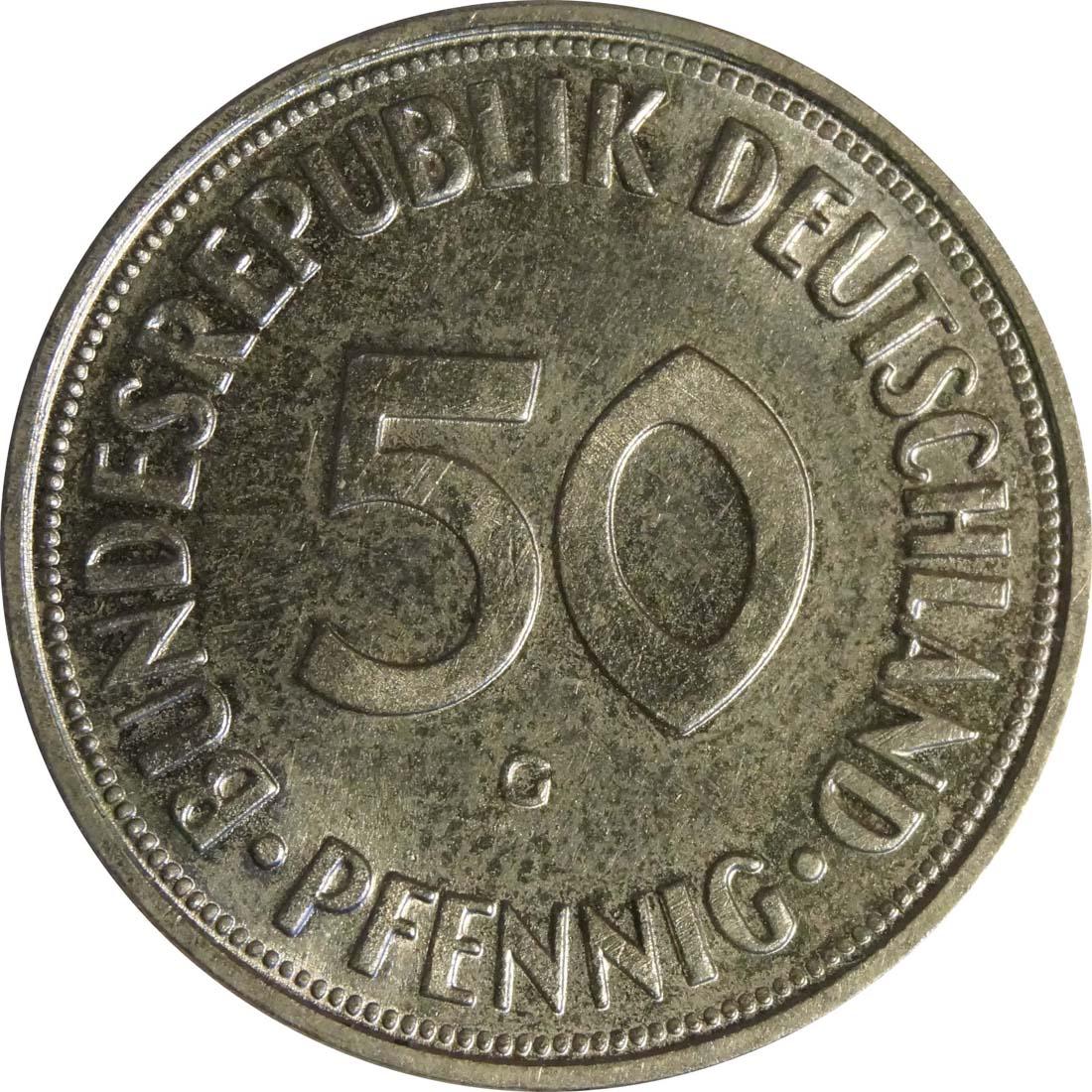Vorderseite :Deutschland : 50 Pfennig Kursmünze  1968 Stgl.