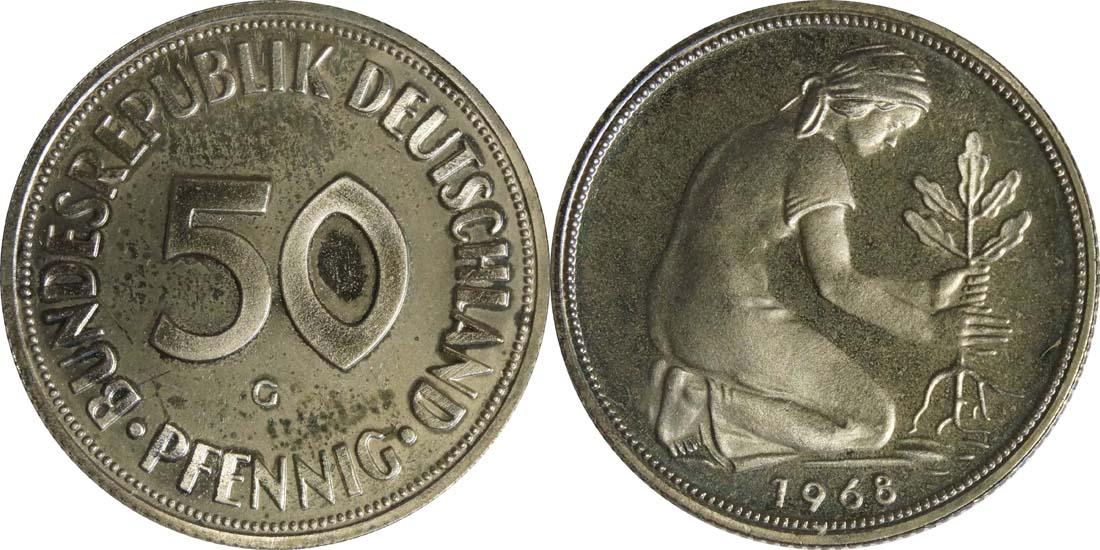 Übersicht:Deutschland : 50 Pfennig Kursmünze  1968 PP