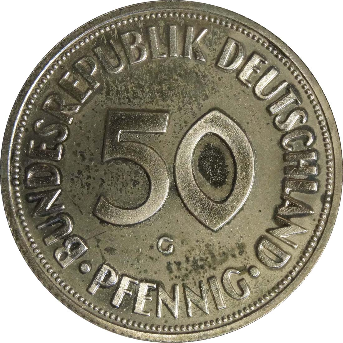 Vorderseite:Deutschland : 50 Pfennig Kursmünze  1968 PP