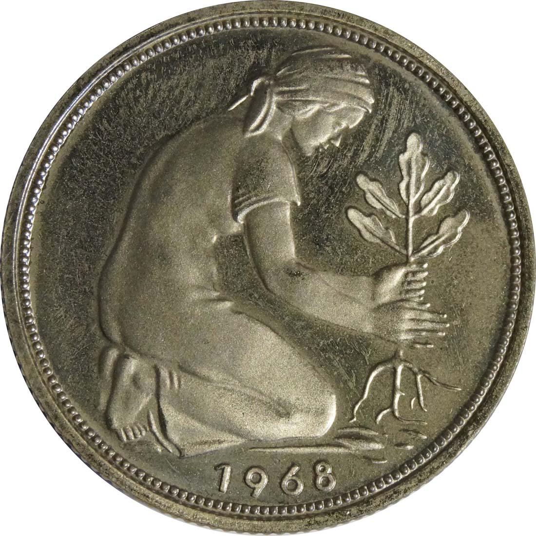 Rückseite:Deutschland : 50 Pfennig Kursmünze  1968 Stgl.