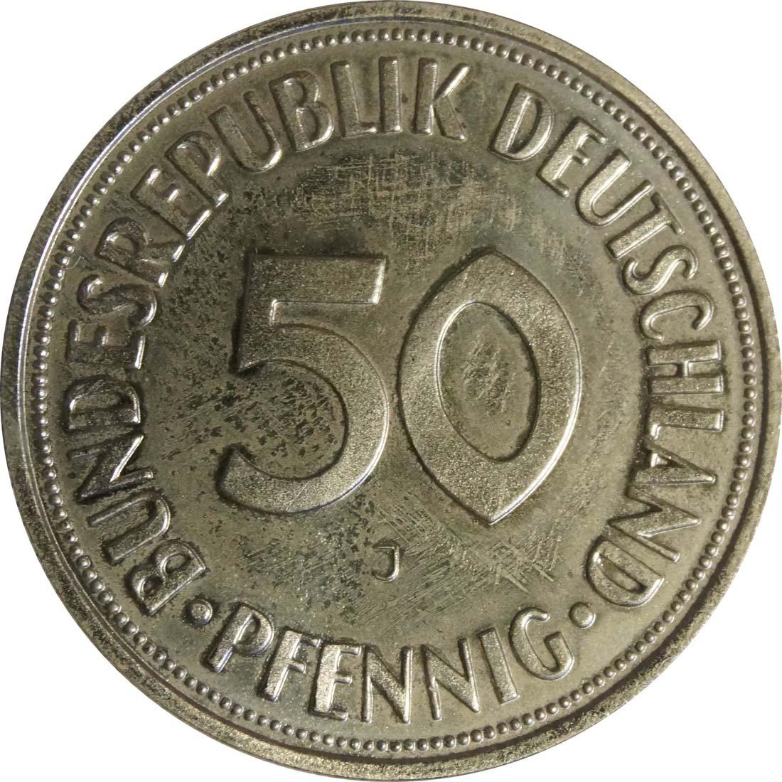 Vorderseite:Deutschland : 50 Pfennig Kursmünze  1968 Stgl.