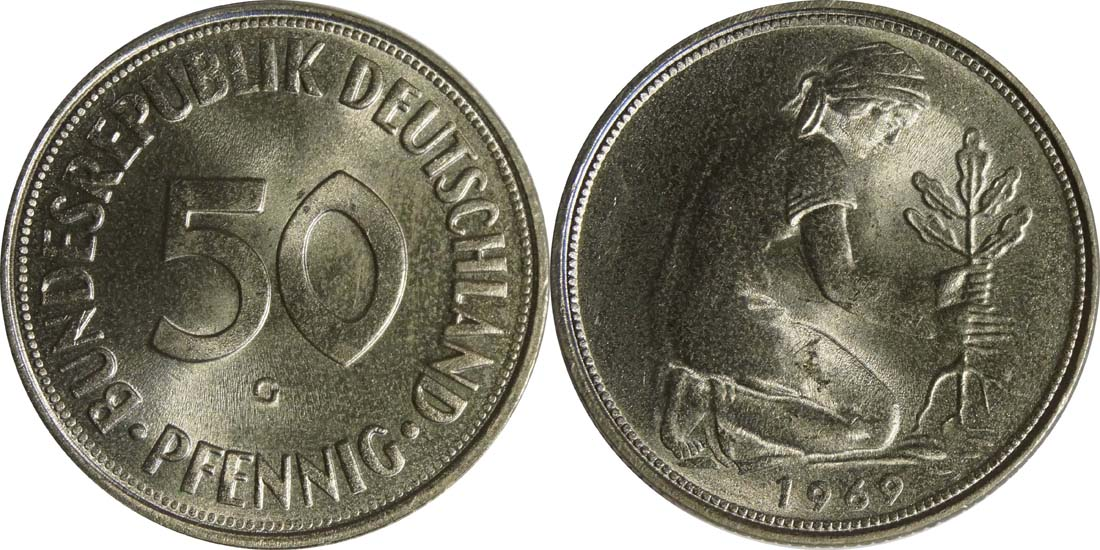 Lieferumfang:Deutschland : 50 Pfennig Kursmünze  1969 Stgl.