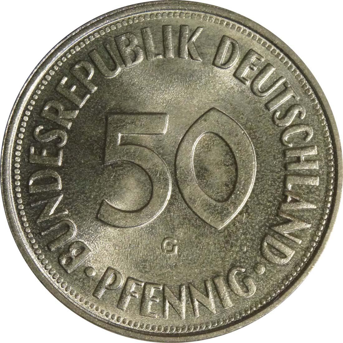 Vorderseite:Deutschland : 50 Pfennig Kursmünze  1969 Stgl.