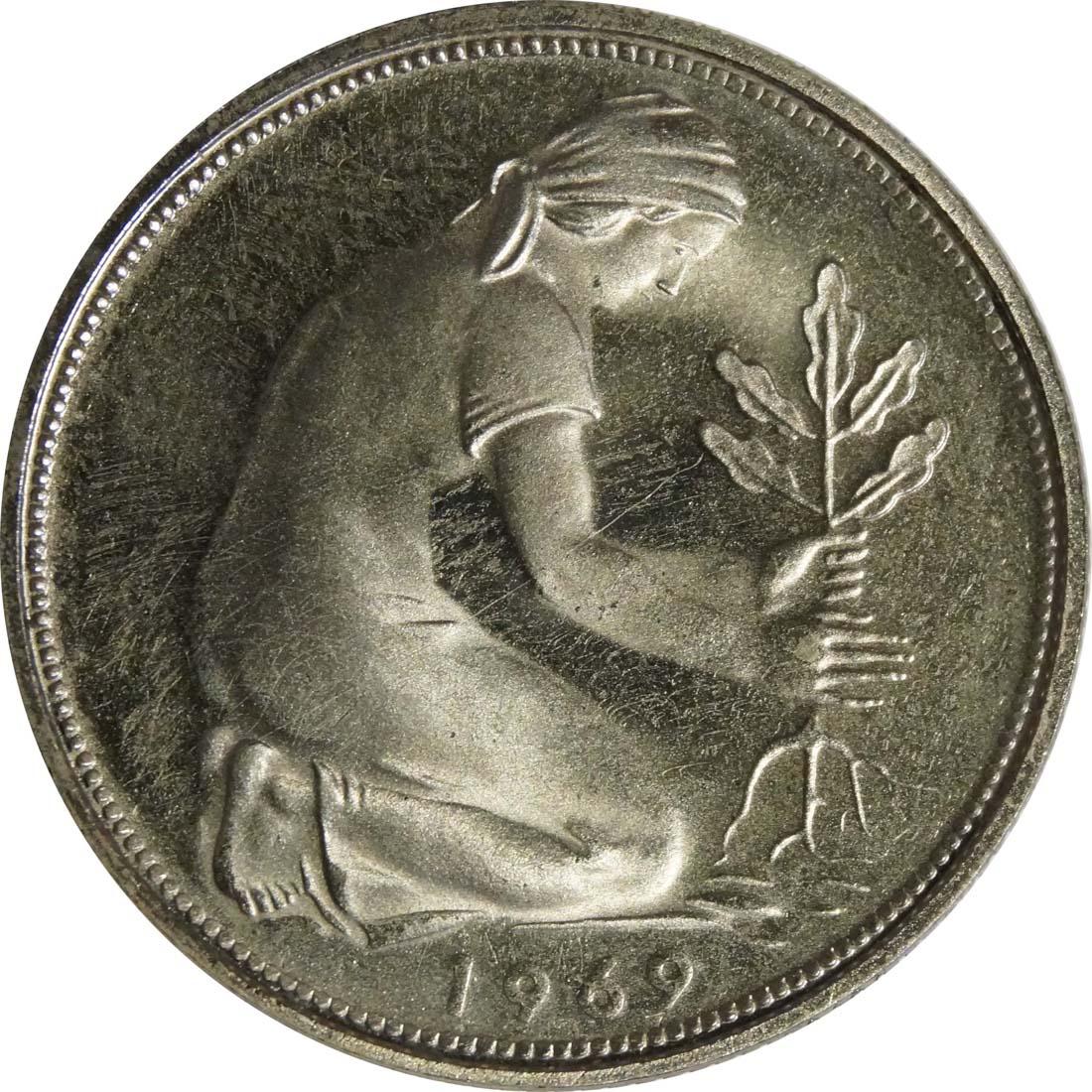 Rückseite:Deutschland : 50 PFennig Kursmünze  1969 PP