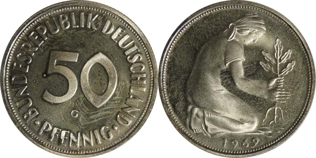 Lieferumfang:Deutschland : 50 PFennig Kursmünze  1969 PP