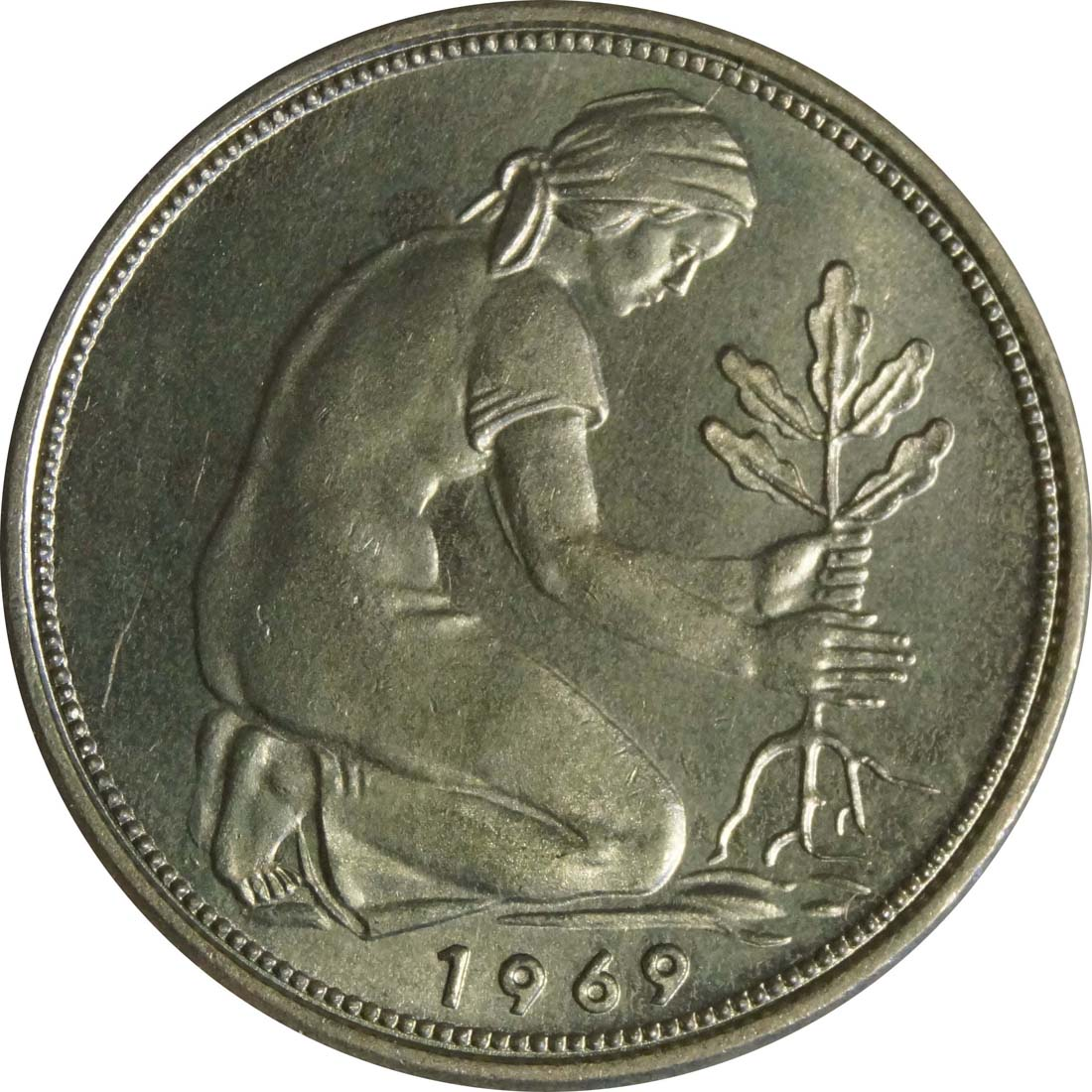 Rückseite :Deutschland : 50 Pfennig Kursmünze  1969 Stgl.