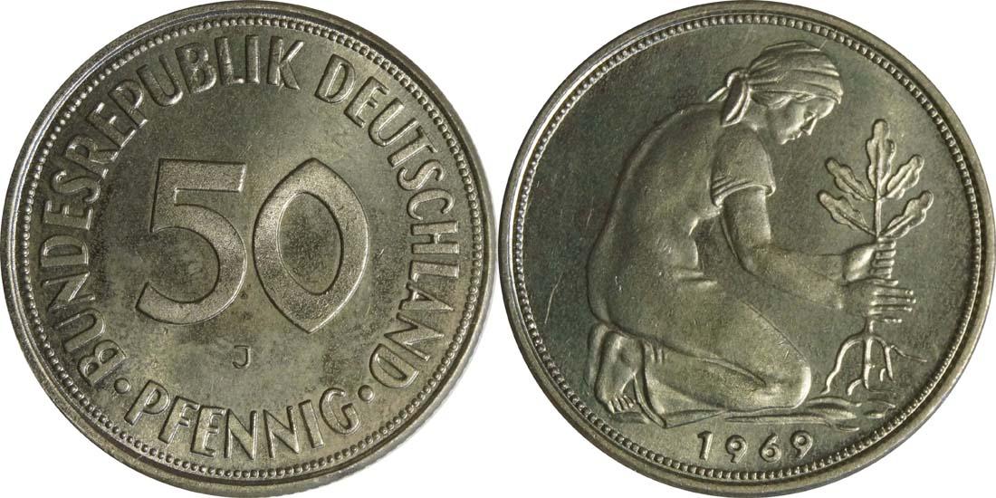 Deutschland : 50 Pfennig Kursmünze  1969 Stgl.