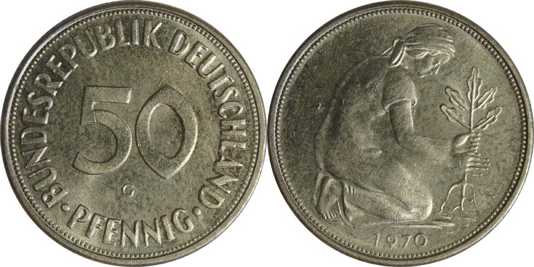 Übersicht:Deutschland : 50 Pfennig Kursmünze  1970 Stgl.