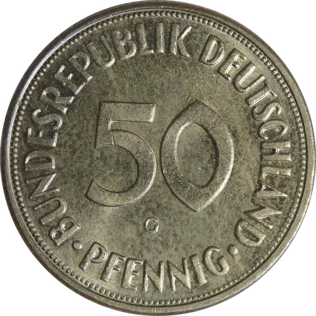 Vorderseite:Deutschland : 50 Pfennig Kursmünze  1970 Stgl.