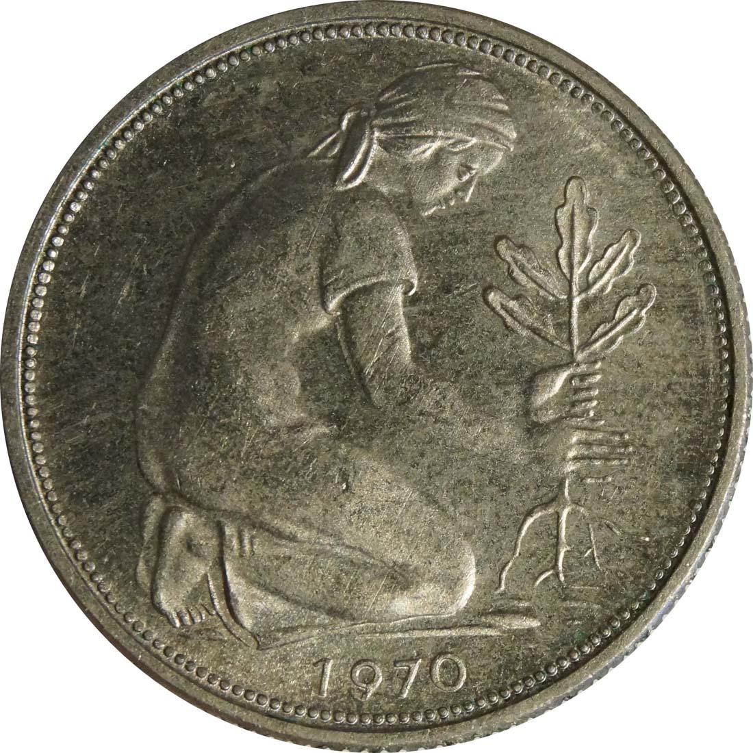 Rückseite :Deutschland : 50 Pfennig Kursmünze  1970 Stgl.