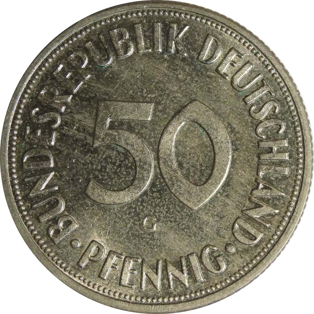 Vorderseite :Deutschland : 50 Pfennig Kursmünze  1970 Stgl.