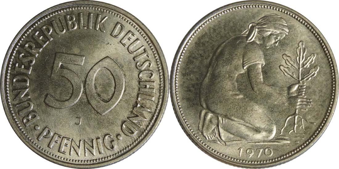 Deutschland : 50 Pfennig Kursmünze  1970 Stgl.