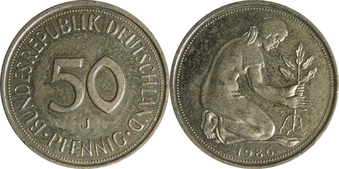 Lieferumfang:Deutschland : 50 Pfennig Kursmünze  1986 vz.