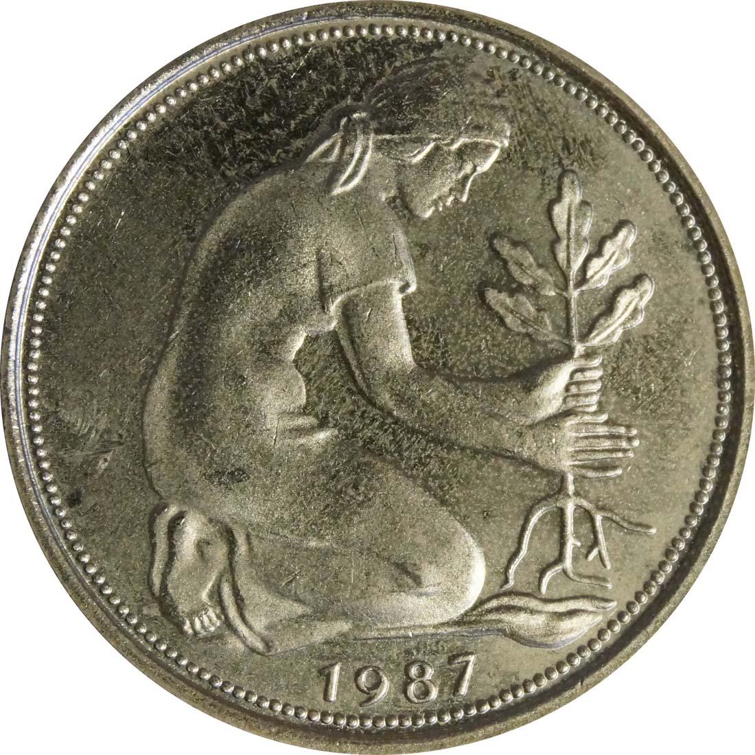 Rückseite:Deutschland : 50 Pfennig Kursmünze  1987 Stgl.