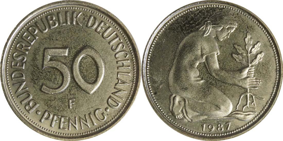 Übersicht:Deutschland : 50 Pfennig Kursmünze  1987 Stgl.