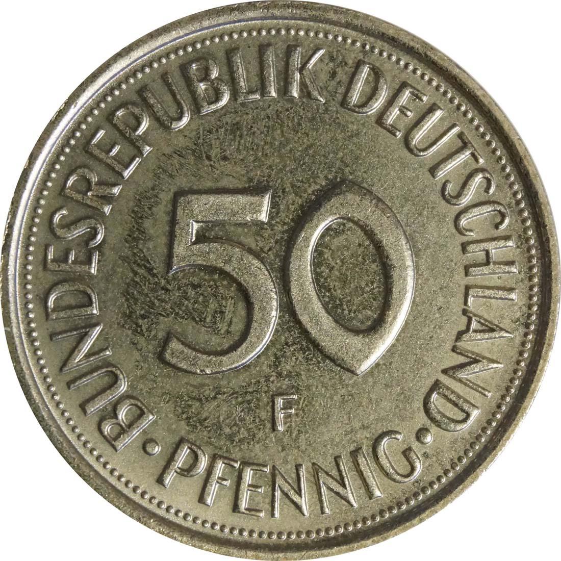Vorderseite:Deutschland : 50 Pfennig Kursmünze  1987 Stgl.