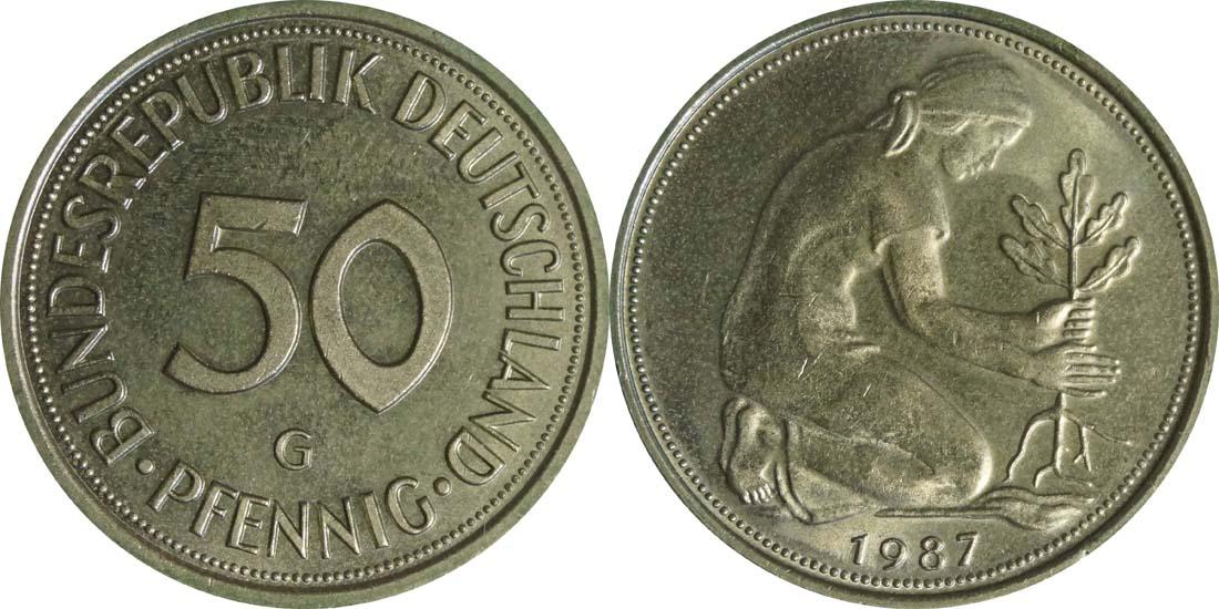 Deutschland : 50 Pfennig Kursmünze  1987 Stgl.