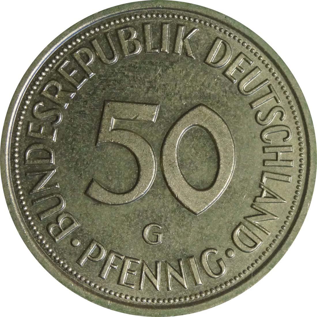 Vorderseite :Deutschland : 50 Pfennig Kursmünze  1987 Stgl.