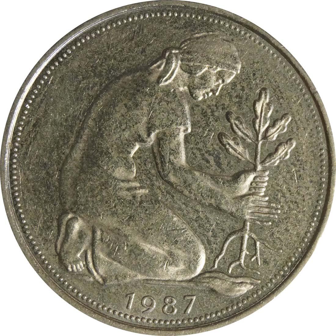 Rückseite:Deutschland : 50 Pfennig Kursmünze  1987 vz.