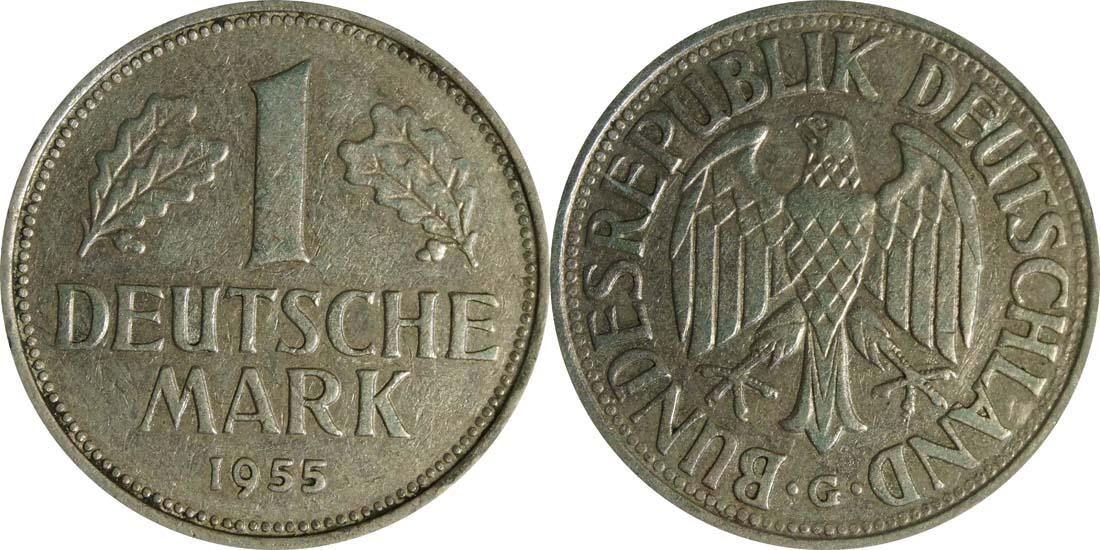 Übersicht:Deutschland : 1 DM Kursmünze  1955 ss.