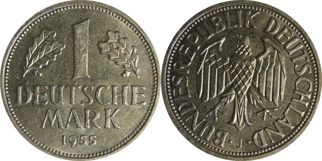 Deutschland : 1 DM Kursmünze -selten- 1955 vz/Stgl.