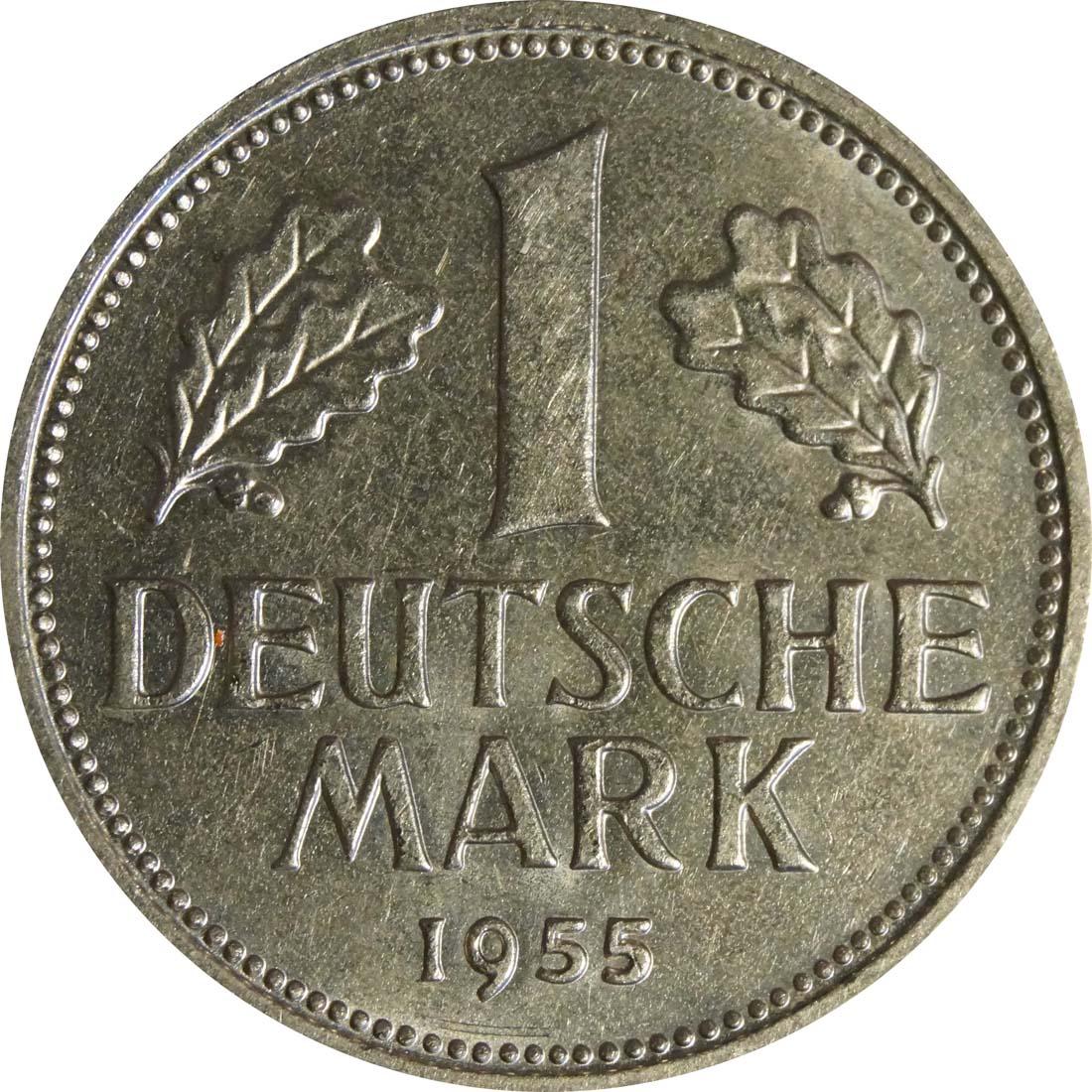 Vorderseite:Deutschland : 1 DM Kursmünze -selten- 1955 vz/Stgl.
