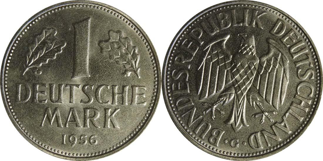 Übersicht:Deutschland : 1 DM Kursmünze  1956 bfr