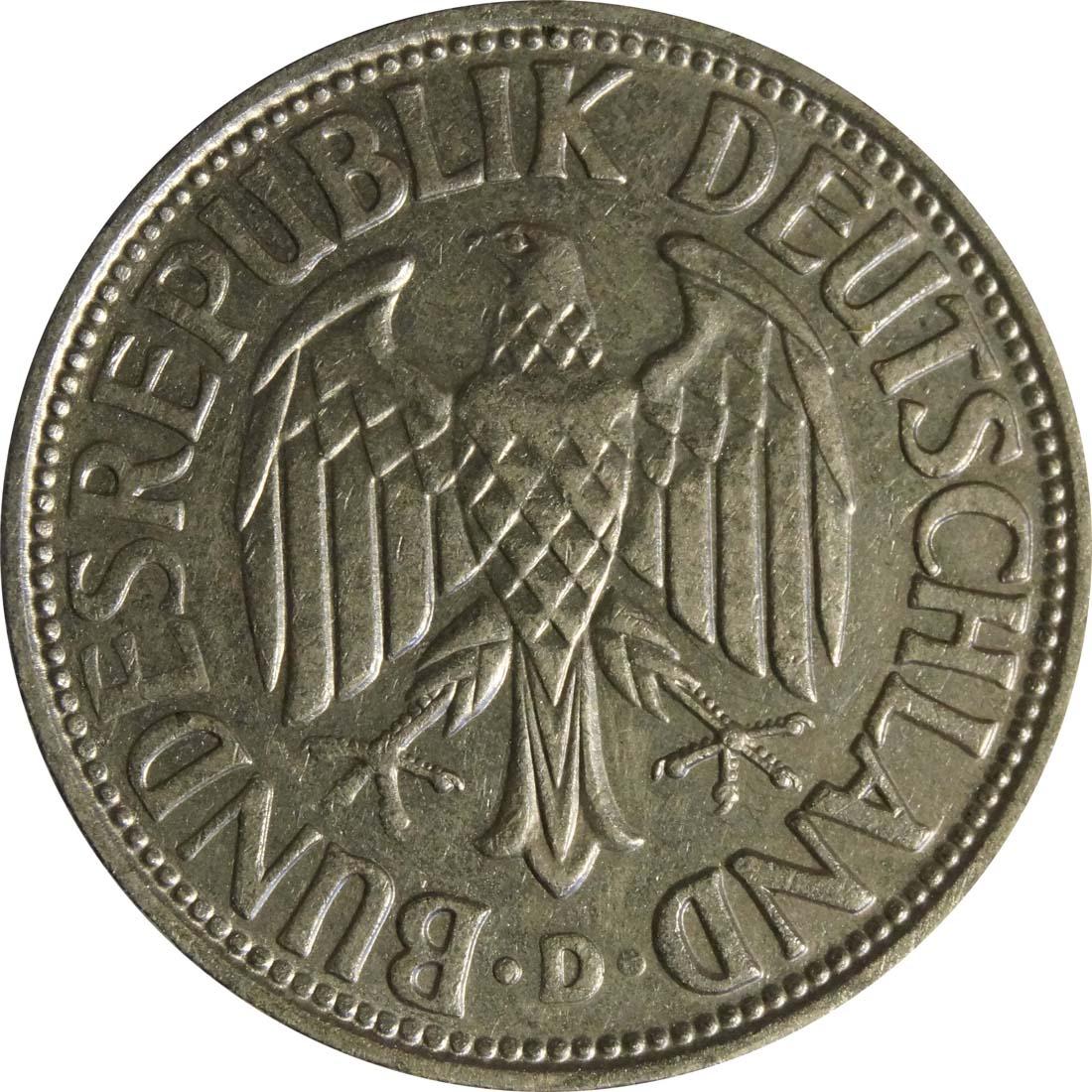 Rückseite :Deutschland : 1 DM Kursmünze  1959 vz.
