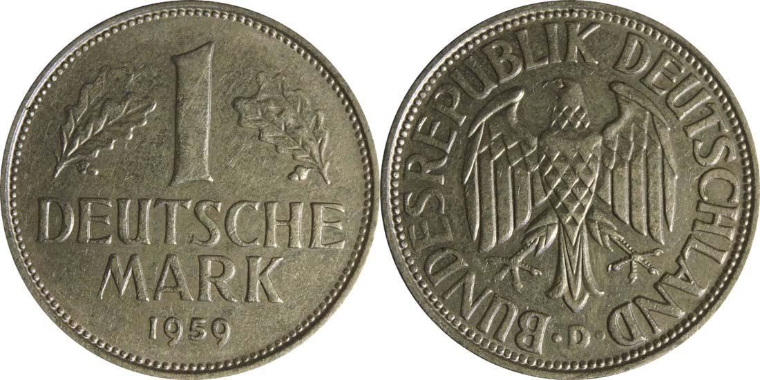 Deutschland : 1 DM Kursmünze  1959 vz.